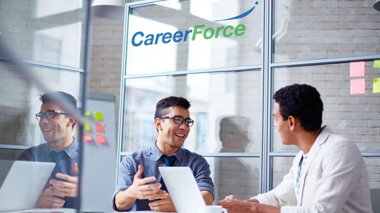 two people meeting at a Career Force location
