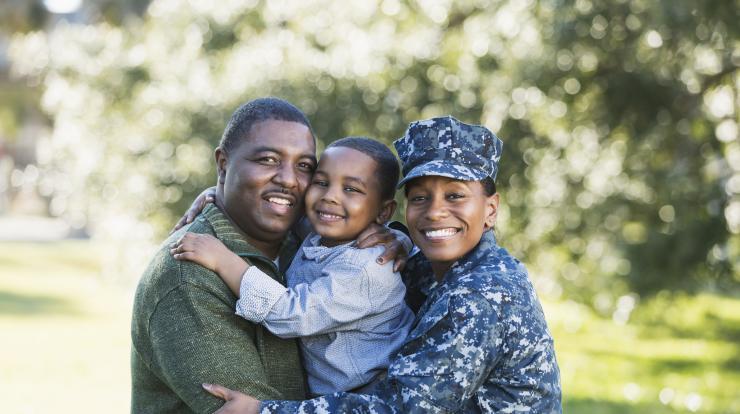 navy veteran and her family