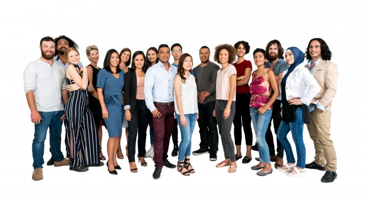 diverse group of people on white background