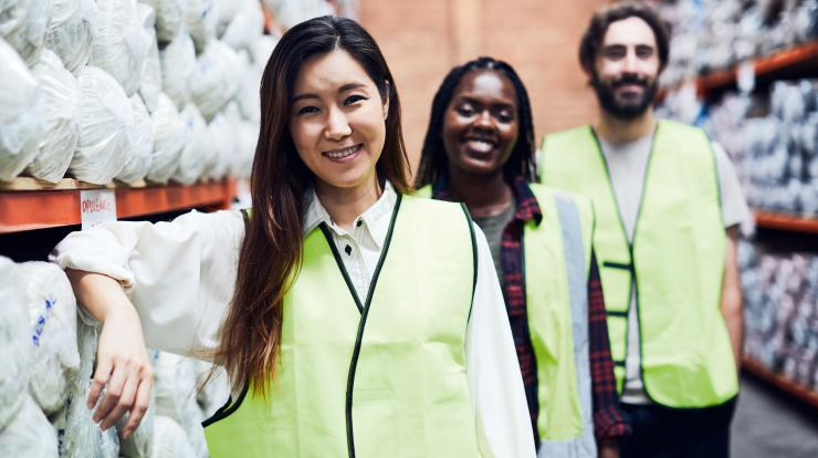 diverse group of warehouse workers