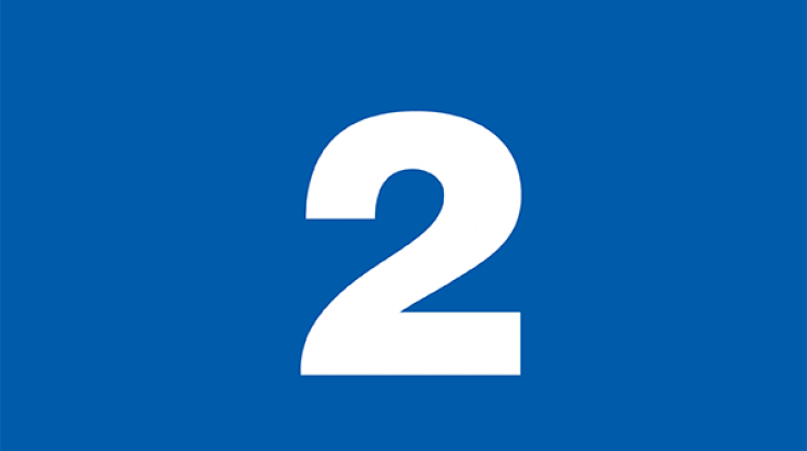 number two on blue background