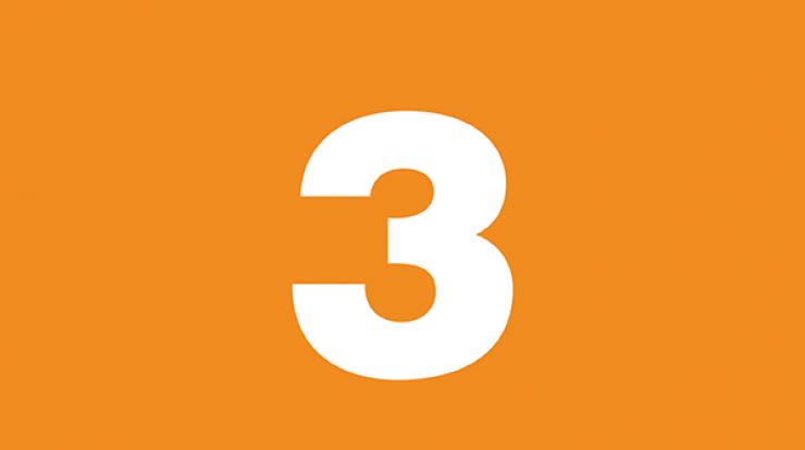 number three on orange background