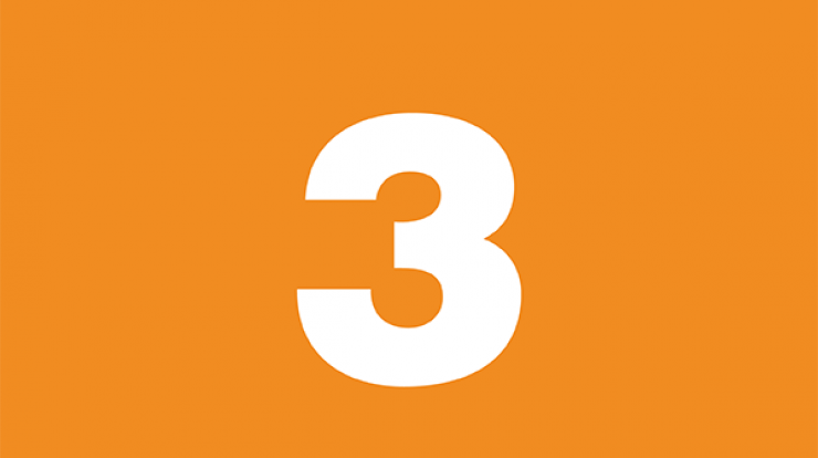 number three on orange background
