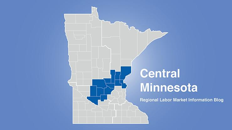 Minnesota regional map with central MN area highlighted and words Central Minnesota Regional Labor Market Information Blog