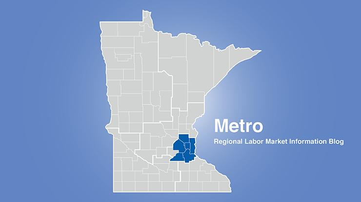 Minnesota regional map with metro area highlighted and words Metro Regional Labor Market Information Blog