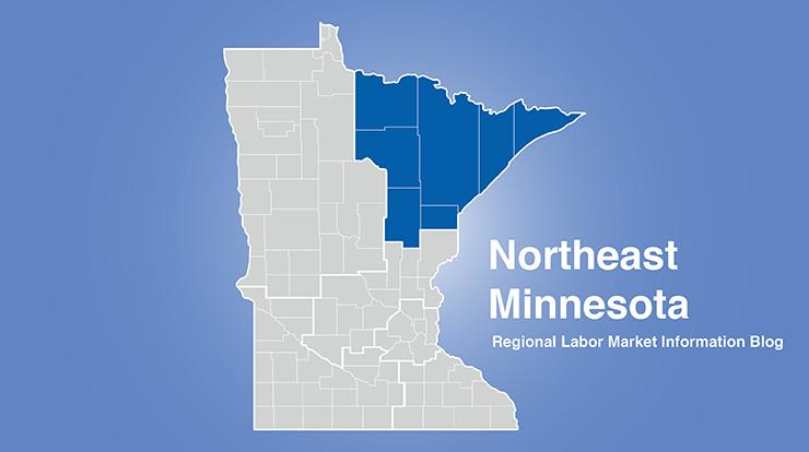 Minnesota regional map with Northeast MN area highlighted and words Northeast Minnesota Regional Labor Market Information Blog