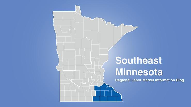 Minnesota regional map with southeast Minnesota area highlighted and words Southeast Minnesota Regional Labor Market Information Blog