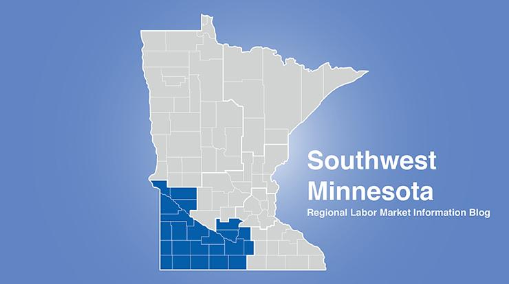 Minnesota regional map with Southwest MN area highlighted and words Southwest Minnesota Regional Labor Market Information Blog