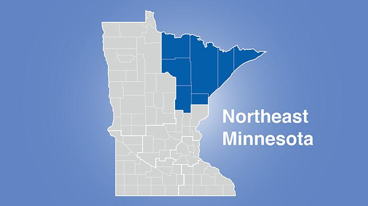 MInnesota map with northeast region highlighted and words Northeast Minnesota