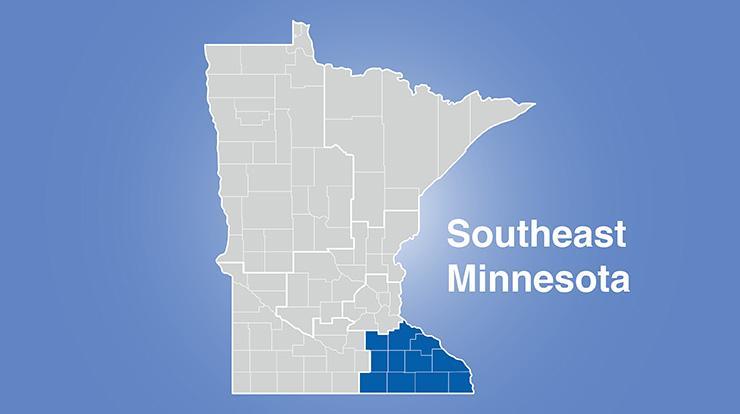 Minnesota map with southeast Minnesota region highlighted with words Southeast Minnesota