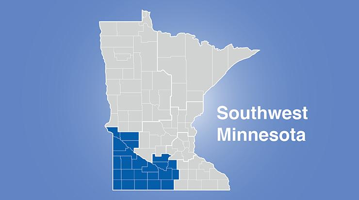 Minnesota map with map showing southwest Minnesota and words Southwest Minnesota