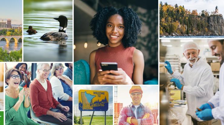 Collage of Minnesota landmarks and workforce
