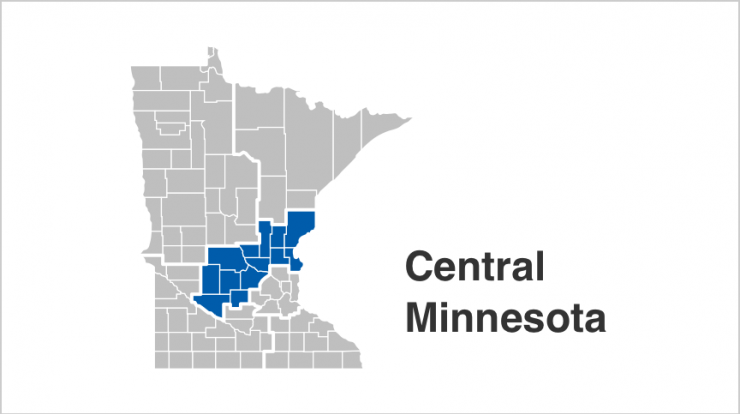 State of Minnesota map with Central counties highlighted in blue. Counties include  Benton, Chisago, Isanti, Kanabec, Kandiyohi, McLeod, Meeker, Mille Lacs, Pine, Renville, Sherburne, Stearns, Wright.