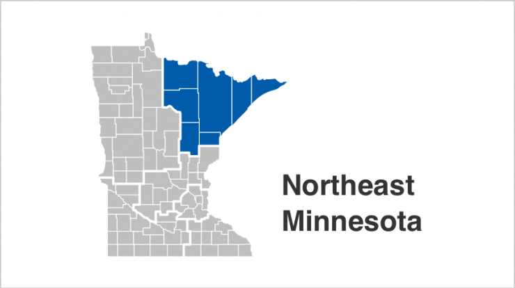 State of Minnesota map with Northeast counties highlighted in blue. Counties include  Aitkin, Carlton, Cook, Itasca, Koochiching, Lake, St. Louis.