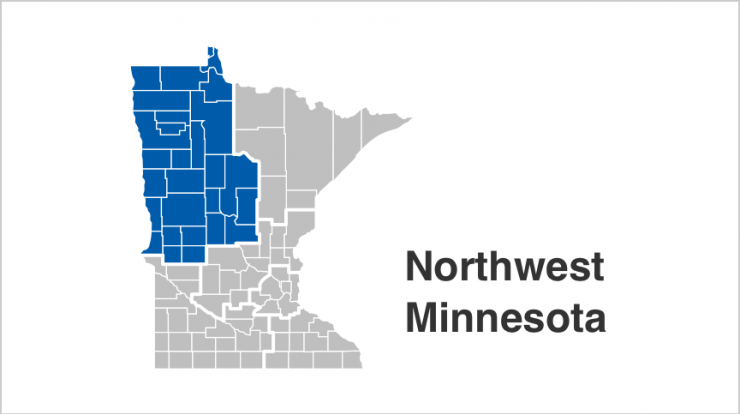 State of Minnesota map with Northwest counties highlighted in blue. Counties include  Becker, Beltrami, Cass, Clay, Clearwater, Crow Wing, Douglas, Grant, Hubbard, Kittson, Lake of the Woods, Mahnomen, Marshall, Morrison, Norman, Otter Tail, Pennington, Polk, Pope, Red Lake, Roseau, Stevens, Todd, Traverse, Wadena, Wilkin.