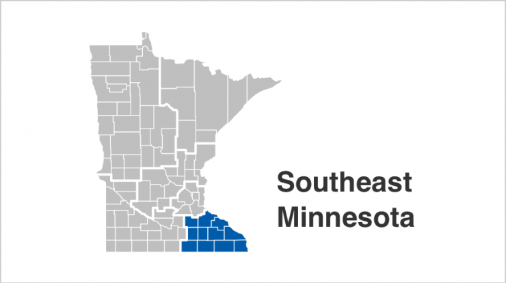 State of Minnesota map with Southeast counties highlighted in blue. Counties include Dodge, Fillmore, Freeborn, Goodhue, Houston, Mower, Olmsted, Rice, Steele, Wabasha, Winona.