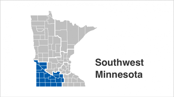 State of Minnesota map with Southwest counties highlighted in blue. Counties include  Big Stone, Blue Earth, Brown, Chippewa, Cottonwood, Faribault, Jackson, Lac qui Parle, Le Sueur, Lincoln, Lyon, Martin, Murray, Nicollet, Nobles, Pipestone, Redwood, Rock, Sibley, Swift, Waseca, Watonwan, Yellow Medicine.
