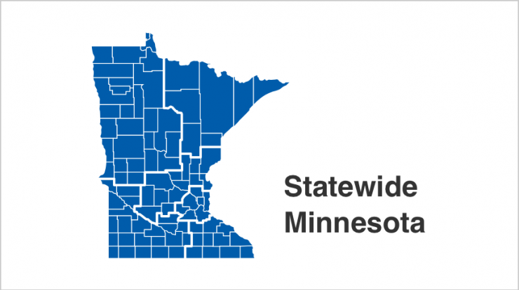State of Minnesota map with all 87 counties highlighted in blue.