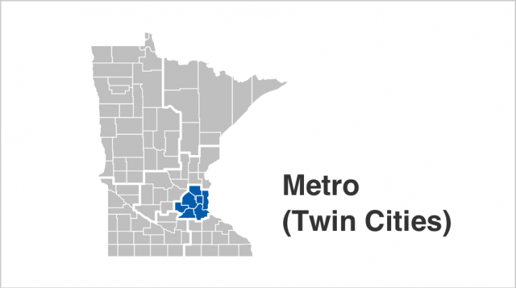 State of Minnesota map with Twin Cities Metro Area counties highlighted in blue. Counties include Anoka, Carver, Dakota, Hennepin, Ramsey, Scott, Washington.