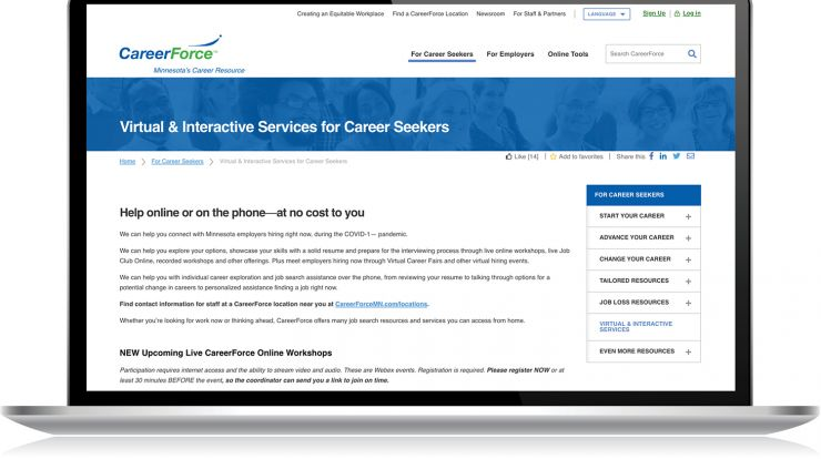 computer screen showing Virtual & Interactive Services page for career seekers on CareerForceMN.com