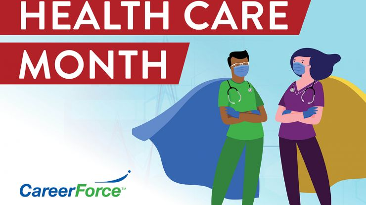 image of Health Care Month logo with cartoon superheroes in health care uniforms