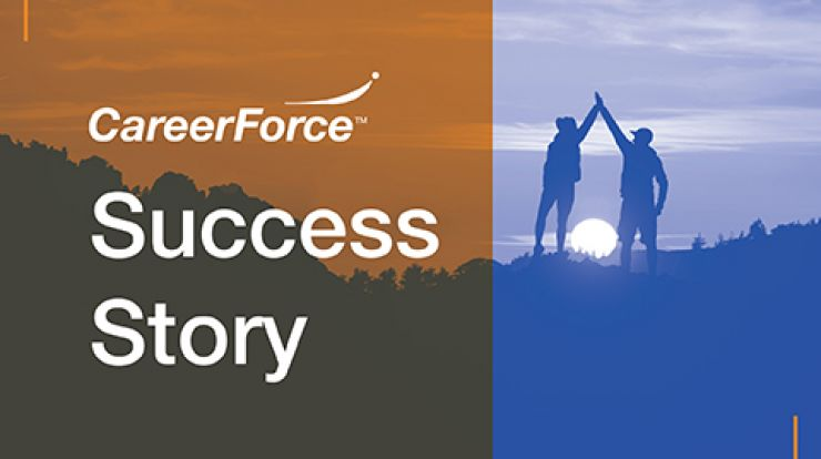 """graphic of two people high-fiving with words """"CareerForce Success Story"""""""