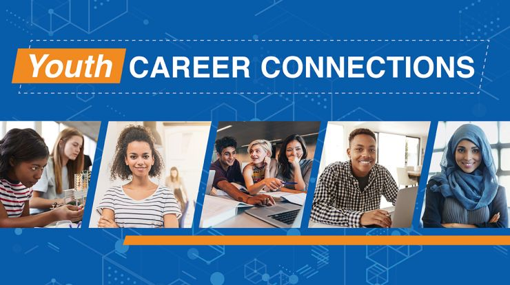 Youth Career Connections title with pictures of diverse students