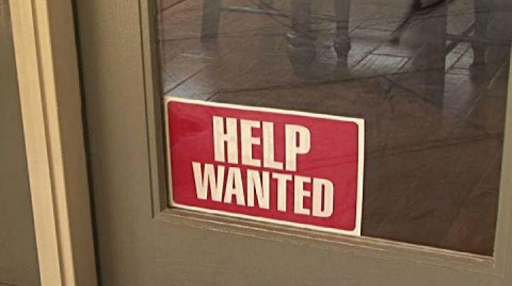 help wanted sign on door
