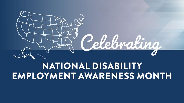 image of US map that says National Disability Employment Awareness Month