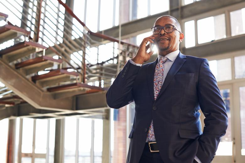 Businessman on his phone