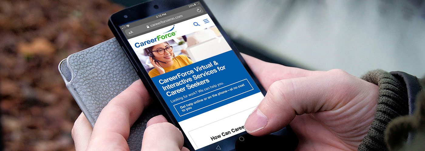 Mobile user on the CareerForceMN.com homepage