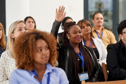 In a conference or class