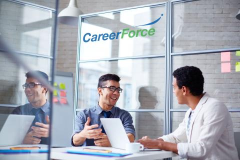 two people meeting at a CareerForce location