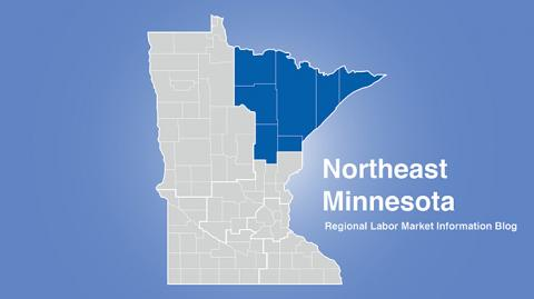 Minnesota regional map with Northeast MN area highlighted and words Northeast Minnesota Regional Labor Market Information Blog