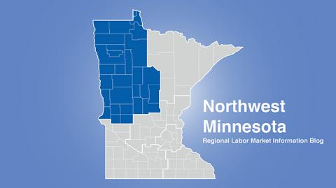 Minnesota regional map with Northwest MN area highlighted and words Northwest Minnesota Regional Labor Market Information Blog