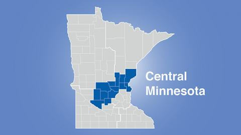 Minnesota map with central region highlighted and words Central Minnesota