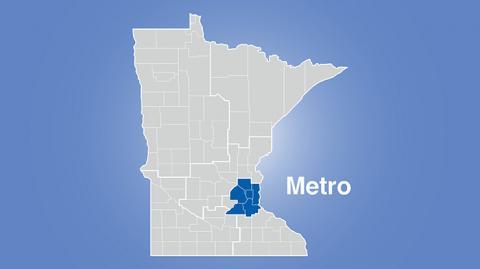 Minnesota map highlighting metro area with words Metro