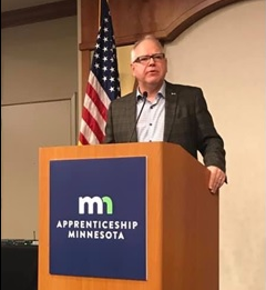 photo of Governor Walz speaking at NE MN Apprenticeship Summit