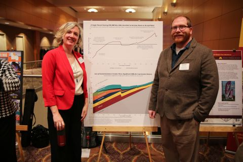 photo of Monica Haynes, Director of the Bureau of Business and Economic Research for the University of Minnesota-Duluth and Shawn Herhusky, NE MN CareerForce Workforce Strategy Consultant