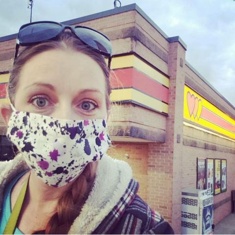 Bunni wearing mask at truck stop