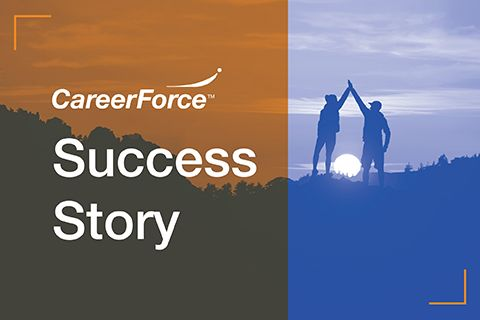 "graphic of two people high-fiving with words ""CareerForce Success Story"""